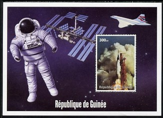 Guinea - Conakry 2004 (?) Space Exploration #1 perf souvenir sheet unmounted mint. Note this item is privately produced and is offered purely on its thematic appeal