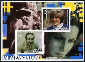 Somalia 2001 In Memoriam - Princess Diana & Walt Disney #01 imperf sheetlet containing 2 values with Spielberg & Greta Garbo in background unmounted mint. Note this item is privately produced and is offered purely on its thematic appeal