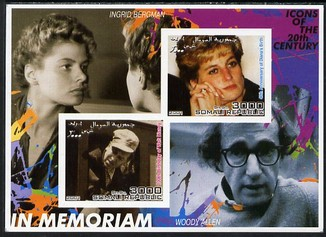 Somalia 2001 In Memoriam - Princess Diana & Walt Disney #03 imperf sheetlet containing 2 values with Ingrid Bergman & Woody Allen in background unmounted mint. Note this item is privately produced and is offered purely on its thematic appeal