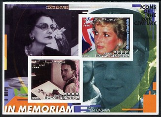 Somalia 2001 In Memoriam - Princess Diana & Walt Disney #04 imperf sheetlet containing 2 values with Coco Chanel & Yuri Gagarin in background unmounted mint. Note this it...