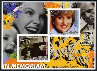 Somalia 2001 In Memoriam - Princess Diana & Walt Disney #06 imperf sheetlet containing 2 values with Judy Garland & Jackson Pollock in background unmounted mint. Note thi...