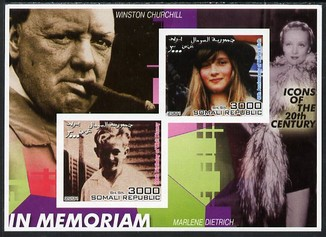 Somalia 2001 In Memoriam - Princess Diana & Walt Disney #07 imperf sheetlet containing 2 values with Churchill & Marlene Dietrich in background unmounted mint. Note this item is privately produced and is offered purely on its thematic appeal