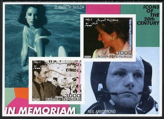 Somalia 2001 In Memoriam - Princess Diana & Walt Disney #09 imperf sheetlet containing 2 values with Liz Taylor & Neil Armstrong in background unmounted mint