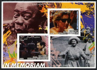 Somalia 2001 In Memoriam - Princess Diana & Walt Disney #10 imperf sheetlet containing 2 values with Louis Armstrong & Queen Mother in background unmounted mint. Note this item is privately produced and is offered purely on its thematic appeal