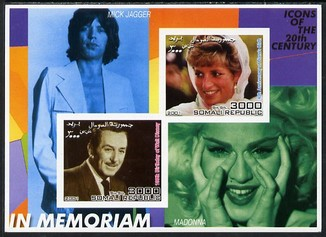 Somalia 2001 In Memoriam - Princess Diana & Walt Disney #11 imperf sheetlet containing 2 values with Mick Jagger & Madonna in background unmounted mint. Note this item is privately produced and is offered purely on its thematic appeal