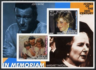 Somalia 2001 In Memoriam - Princess Diana & Walt Disney #13 imperf sheetlet containing 2 values with John Wayne & Margaret Thatcher in background unmounted mint. Note this item is privately produced and is offered purely on its thematic appeal