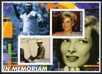 Somalia 2001 In Memoriam - Princess Diana & Walt Disney #14 imperf sheetlet containing 2 values with Pele & Katharine Hepburn in background unmounted mint. Note this item is privately produced and is offered purely on its thematic appeal