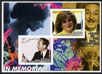 Somalia 2001 In Memoriam - Princess Diana & Walt Disney #15 imperf sheetlet containing 2 values with Isadora Duncan in background unmounted mint. Note this item is privately produced and is offered purely on its thematic appeal