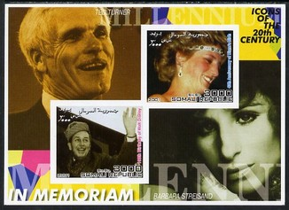 Somalia 2001 In Memoriam - Princess Diana & Walt Disney #16 imperf sheetlet containing 2 values with Ted Turner & Barbara Streisand in background unmounted mint. Note this item is privately produced and is offered purely on its thematic appeal