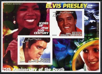 Somalia 2002 Elvis Presley 25th Anniversary of Death #02 imperf sheetlet containing 2 values with Oprah Winfrey, Allen Ginsberg & Diana in background unmounted mint. Note this item is privately produced and is offered purely on its thematic appeal