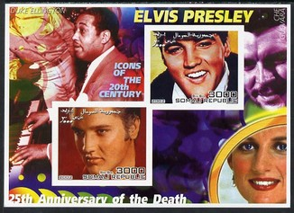 Somalia 2002 Elvis Presley 25th Anniversary of Death #04 imperf sheetlet containing 2 values with Duke Ellington, Che Guevara & Diana in background unmounted mint. Note this item is privately produced and is offered purely on its thematic appeal