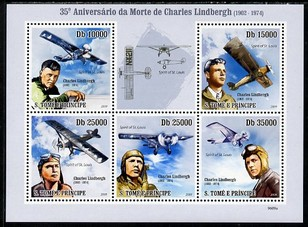 St Thomas & Prince Islands 2009 35th Death Anniversary of Charles Lindbergh perf sheetlet containing 5 values unmounted mint