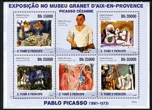 St Thomas & Prince Islands 2009 Paintings by Pablo Picasso perf sheetlet containing 5 values unmounted mint