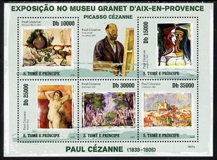 St Thomas & Prince Islands 2009 Paintings by Paul Cezanne perf sheetlet containing 5 values unmounted mint
