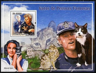 St Thomas & Prince Islands 2009 Cats and their Masters perf s/sheet unmounted mint (David Bowie, Liz Taylor & Bill Clinton)