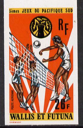 Wallis & Futuna 1975 South Pacific Games 26f (Volleyball) imperf proof from limited printing unmounted mint, SG 244*
