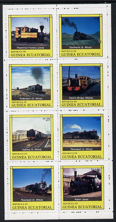 Equatorial Guinea 1977 Locomotives complete perf set of 8 values (Mi 1145-52A) unmounted mint