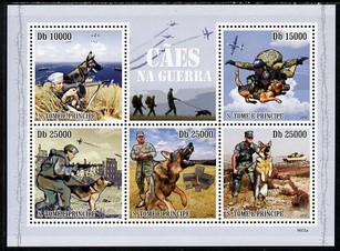 St Thomas & Prince Islands 2009 Dogs in War perf sheetlet containing 5 values unmounted mint
