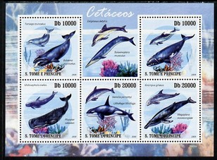 St Thomas & Prince Islands 2009 Whales & Dolphins perf sheetlet containing 5 values unmounted mint