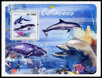 St Thomas & Prince Islands 2009 Whales & Dolphins perf s/sheet unmounted mint