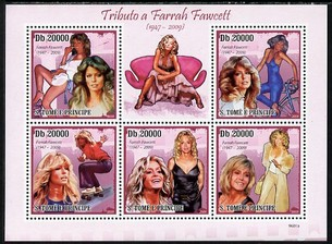 St Thomas & Prince Islands 2009 Famous Actresses - Farrah Fawcett perf sheetlet containing 5 values unmounted mint
