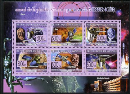 Guinea - Conakry 2009 Planet Mercury Fly-by perf sheetlet containing 6 values unmounted mint