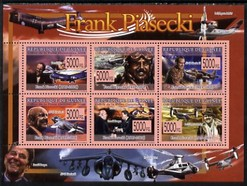 Guinea - Conakry 2009 Death of Frank Piasecki perf sheetlet containing 6 values unmounted mint