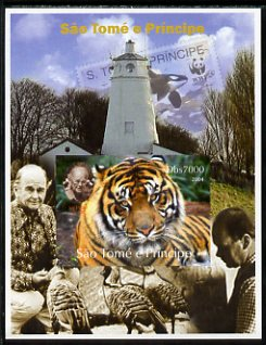 St Thomas & Prince Islands 2004 WWF & Sir Peter Scott #3 imperf s/sheet with Lighthouse in background unmounted mint. Note this item is privately produced and is offered purely on its thematic appeal