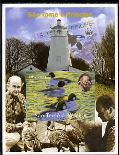 St Thomas & Prince Islands 2004 WWF & Sir Peter Scott #4 imperf s/sheet with Lighthouse in background unmounted mint. Note this item is privately produced and is offered purely on its thematic appeal