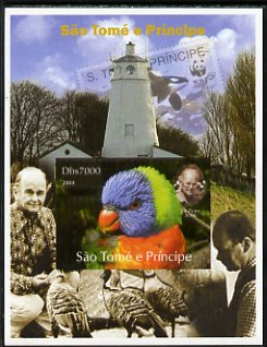 St Thomas & Prince Islands 2004 WWF & Sir Peter Scott #6 imperf s/sheet with Lighthouse in background unmounted mint. Note this item is privately produced and is offered ...