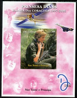 St Thomas & Prince Islands 2005 Princess Diana - Queen of Our Hearts #1 imperf s/sheet with Concorde, Beatles & Satellite in background unmounted mint. Note this item is privately produced and is offered purely on its thematic appeal