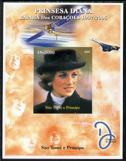 St Thomas & Prince Islands 2005 Princess Diana - Queen of Our Hearts #2 imperf s/sheet with Concorde, Beatles & Satellite in background unmounted mint. Note this item is privately produced and is offered purely on its thematic appeal