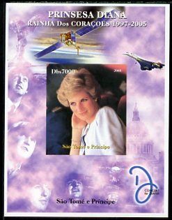 St Thomas & Prince Islands 2005 Princess Diana - Queen of Our Hearts #4 imperf s/sheet with Concorde, Beatles & Satellite in background unmounted mint. Note this item is privately produced and is offered purely on its thematic appeal