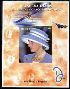 St Thomas & Prince Islands 2005 Princess Diana - Queen of Our Hearts #5 imperf s/sheet with Concorde, Beatles & Satellite in background unmounted mint. Note this item is privately produced and is offered purely on its thematic appeal