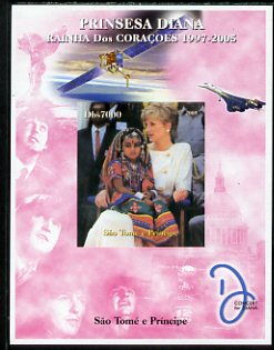 St Thomas & Prince Islands 2005 Princess Diana - Queen of Our Hearts #6 imperf s/sheet with Concorde, Beatles & Satellite in background unmounted mint. Note this item is privately produced and is offered purely on its thematic appeal