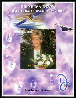 St Thomas & Prince Islands 2005 Princess Diana - Queen of Our Hearts #7 imperf s/sheet with Concorde, Beatles & Satellite in background unmounted mint. Note this item is privately produced and is offered purely on its thematic appeal