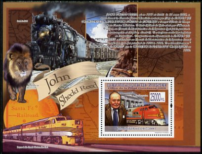 Guinea - Conakry 2008 Locomotives & John Shedd Reed perf s/sheet unmounted mint