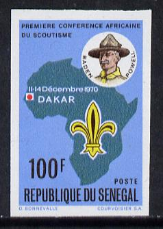 Senegal 1970 Scouting Conference 100f (Baden-Powell, Badge & Map) imperf proof from limited printing, SG 442*