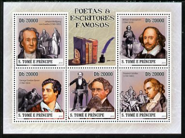 St Thomas & Prince Islands 2010 Famous Poets & Writers perf sheetlet containing 5 values unmounted mint