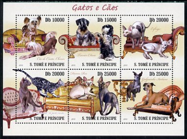 St Thomas & Prince Islands 2010 Cats & Dogs perf sheetlet containing 6 values unmounted mint