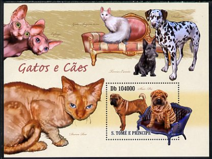 St Thomas & Prince Islands 2010 Cats & Dogs perf s/sheet unmounted mint
