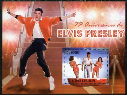 St Thomas & Prince Islands 2010 75th Birth Anniversary of Elvis Presley perf s/sheet unmounted mint