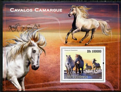 St Thomas & Prince Islands 2010 Camargue Horses perf s/sheet unmounted mint