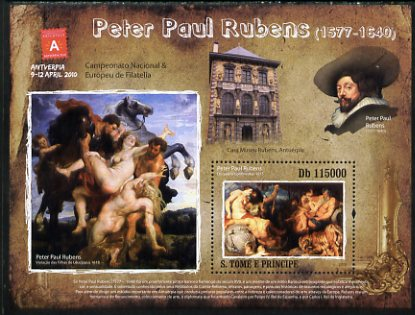 St Thomas & Prince Islands 2010 Paintings by Peter Paul Rubens perf s/sheet with Antwerp Stamp Exhibition Logo unmounted mint