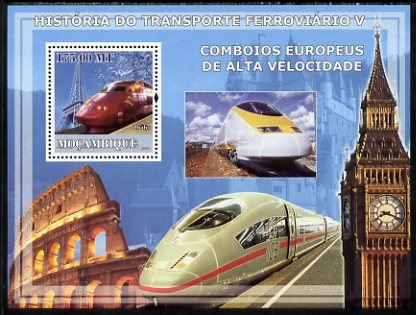 Mozambique 2009 History of Transport - Railways #05 perf s/sheet unmounted mint