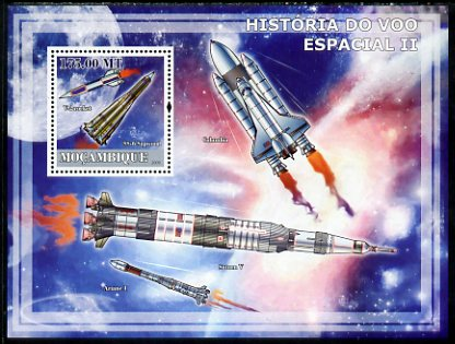 Mozambique 2009 History of Space Flight #02 perf s/sheet unmounted mint, stamps on space, stamps on satellites, stamps on rockets, stamps on shuttle