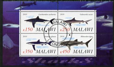 Malawi 2010 Sharks perf sheetlet containing 4 values fine cto used