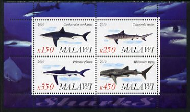 Malawi 2010 Sharks perf sheetlet containing 4 values unmounted mint
