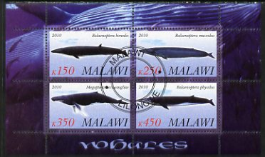 Malawi 2010 Whales perf sheetlet containing 4 values fine cto used