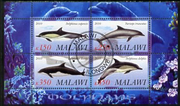 Malawi 2010 Dolphins perf sheetlet containing 4 values fine cto used